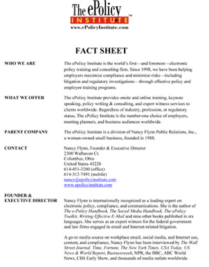 ePolicy Institute Fact Sheet